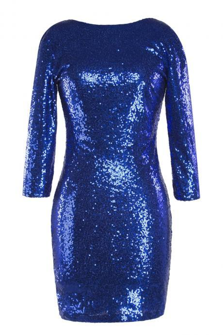 Women Mini Sequined Dress O Neck 3/4 Sleeve Bodycon Slim Pencil Party Club Dress royal blue
