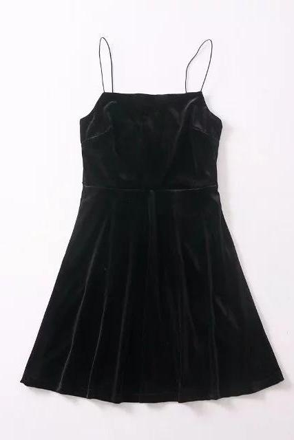 Black Casual Mini Velvet Dress