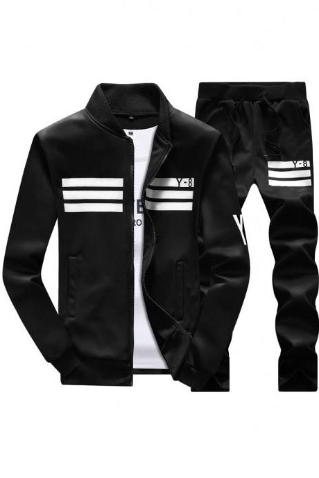 Mens Tracksuit Set Plus Size Stand Collar Men Sportswear Casual Sets Fitness Clothing