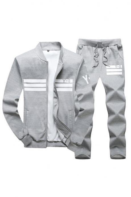 Mens Tracksuit Set Plus Size Stand Collar Men Sportswear Casual Sets Fitness Clothing gray