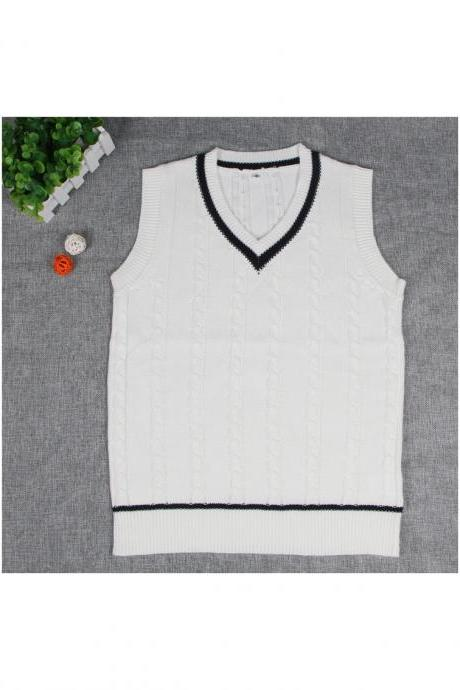 British Preppy Sleeveless Sweater Shool Uniforms V-neck Japanese Boys And Girls Students Knitted Vest off white
