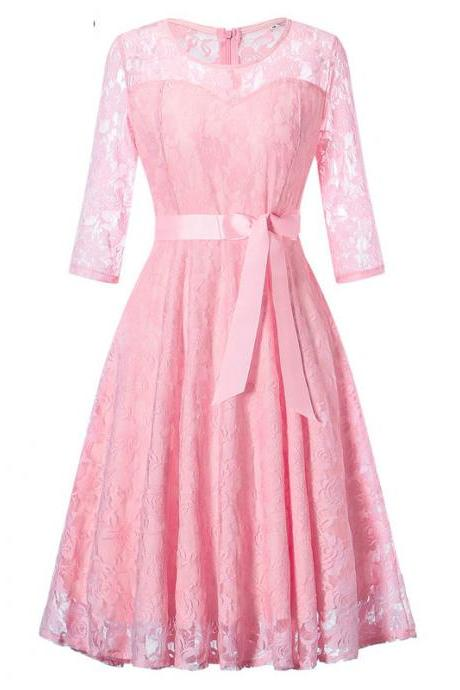 Women Floral Lace Dress 3/4 Sleeve Belted Elegant Evening Retro Swing Office Party Dress pink