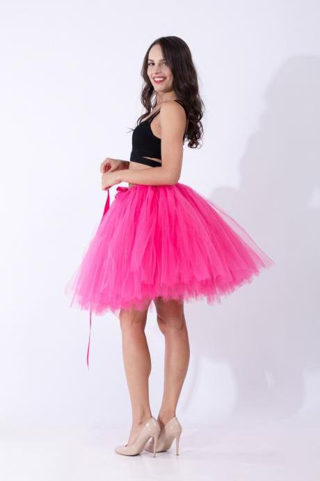 Midi Tulle Skirt Elegant Wedding Bridal Bridesmaid Women TUTU Skirt Lolita Petticoat hot pink