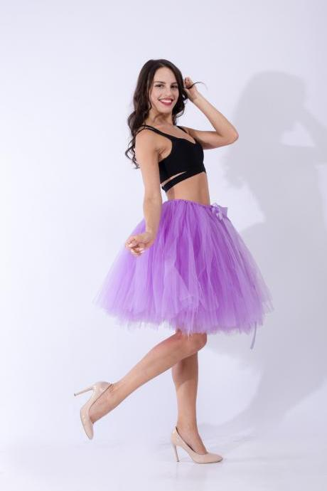 Midi Tulle Skirt Elegant Wedding Bridal Bridesmaid Women TUTU Skirt Lolita Petticoat lilac
