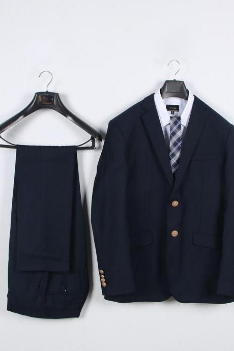 Preppy Style Japanese DK Student Uniforms Men Suit(Jacket+Pants) Boys Two Pieces Sets navy blue