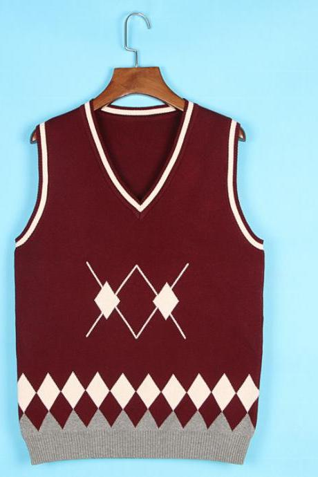 Spring Autumn V-Neck Knitted Vest Boys and Girls Japanese School Uniform Sleeveless Sweater burgundy