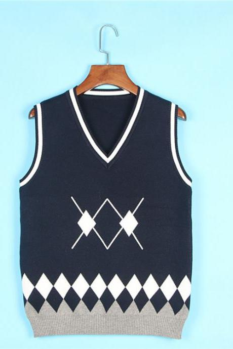Spring Autumn V-Neck Knitted Vest Boys and Girls Japanese School Uniform Sleeveless Sweater navy blue