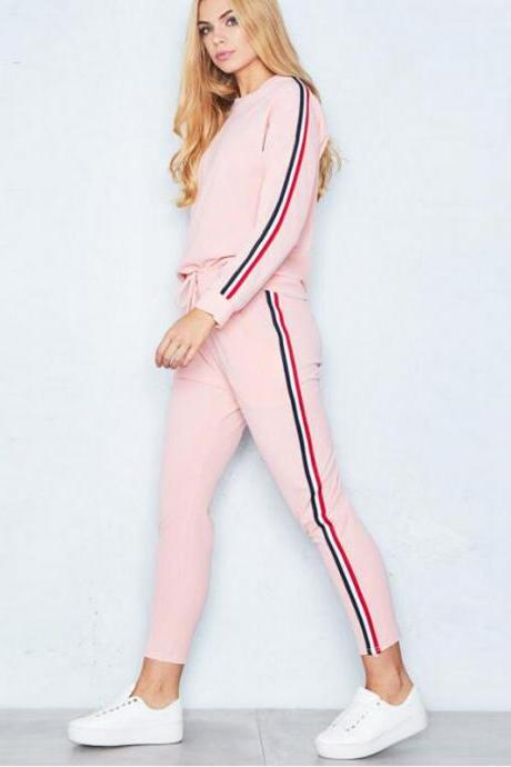 Women Tracksuit Casual Long Sleeve O-Neck Hoodies+Pants Striped Two Pieces Suit Sportwear pink