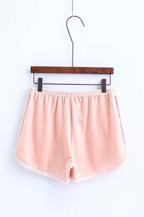 Workout Shorts Women Summer Loose Casual Elastic High Waist Velvet Shorts pink