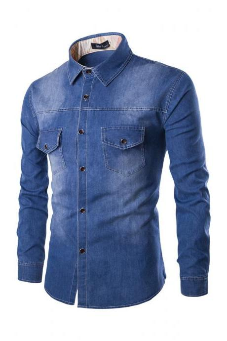 Mens Denim Shirt Cotton Two Pockets Male Long Sleeve Slim Fit Casual Jeans Shirt M-6xl blue