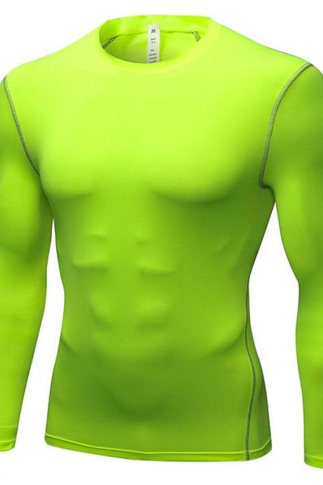 Men Pro Quick Dry Fitness Sport Run Yoga Exercise GYM Top Compression Tee Basketball Workout Hiking Board T Shirt fluorescent green