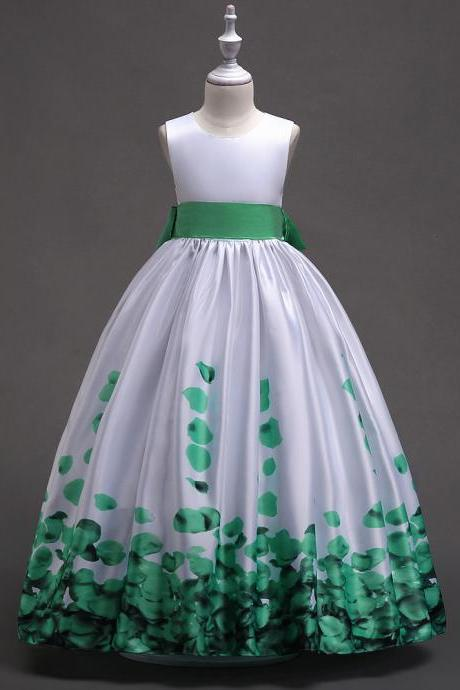 Long Flower Girl Dress Floral Printed Teens Wedding Bridesmaid Party Gown Children Clothes green