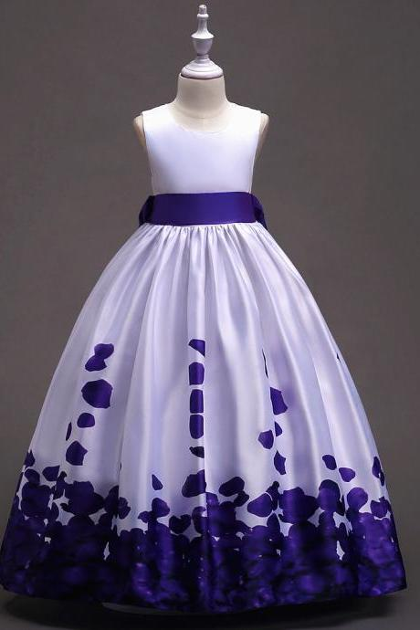 Long Flower Girl Dress Floral Printed Teens Wedding Bridesmaid Party Gown Children Clothes purple
