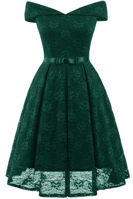 Vintage 50 60s Lace Dress Off the Shoulder Women Cocktail Office Swing Party Dress green