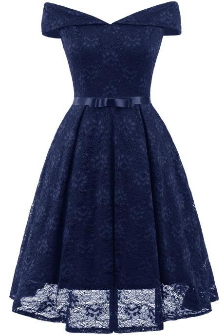 Vintage 50 60s Lace Dress Off the Shoulder Women Cocktail Office Swing Party Dress navy blue