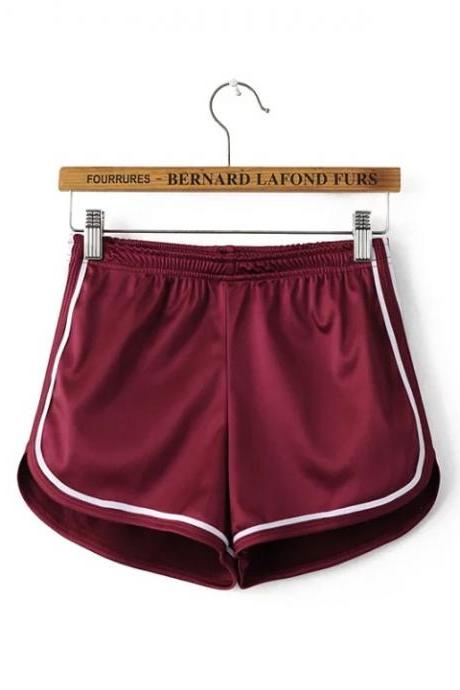 Summer Girl Casual Shorts Women Mini Side Striped Elastic High Waist Leisure Sport Shorts wine red