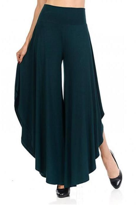 Elegant Irregular Ruffles Wide Leg Pants Women High Waist Pleated Casual Loose Streetwear Trousers dark green