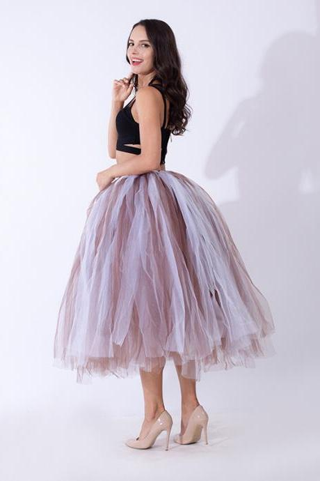 Women Puffy Tutu Skirts Long Tea Length Tulle Skirt Wedding Bridesmaid Lolita Under skirt coffee+white