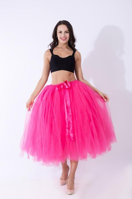 Women Puffy Tutu Skirts Long Tea Length Tulle Skirt Wedding Bridesmaid Lolita Under skirt hot pink