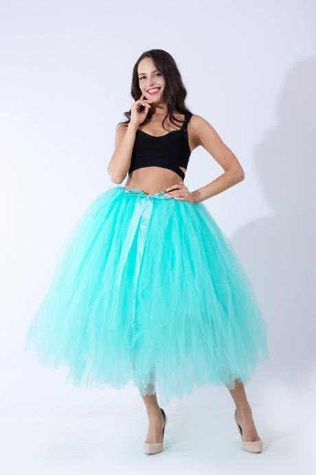 Women Puffy Tutu Skirts Long Tea Length Tulle Skirt Wedding Bridesmaid Lolita Under skirt mint