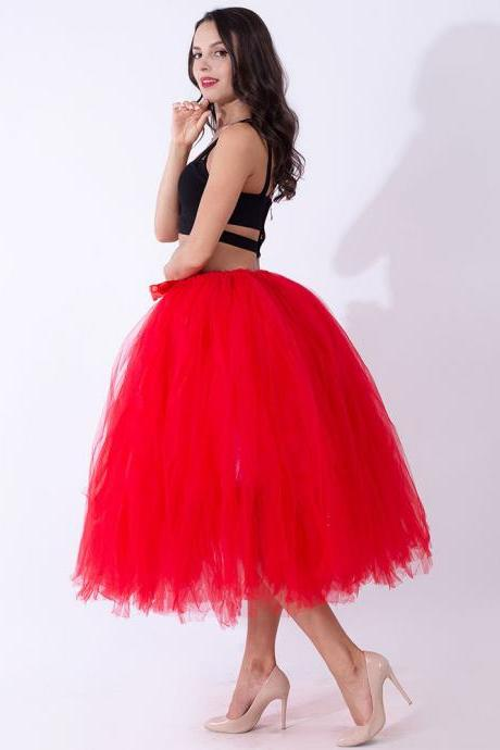 Women Puffy Tutu Skirts Long Tea Length Tulle Skirt Wedding Bridesmaid Lolita Under skirt red