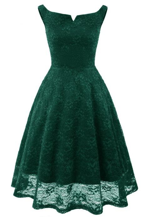 Vintage Floral Lace Dress Sleeveless A-Line Office Cocktail Party Club Dress green