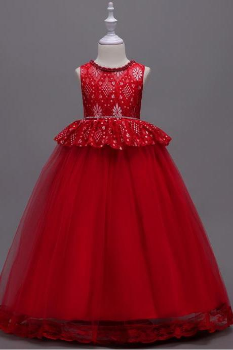 Long Lace Flower Girl Dress Princess Teens Wedding Formal Party Gown Children Clothes red