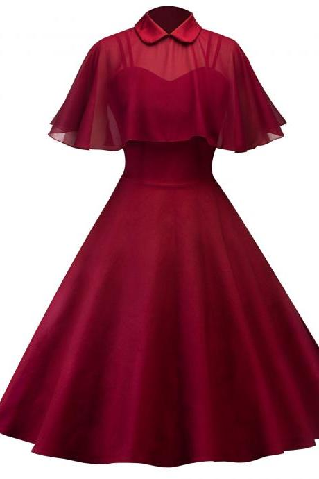 Vintage Hepburn 50 60s Casual Dress Doll Collar Butterfly Sleeve Cloak Big Swing Cocktail Party Dress burgundy