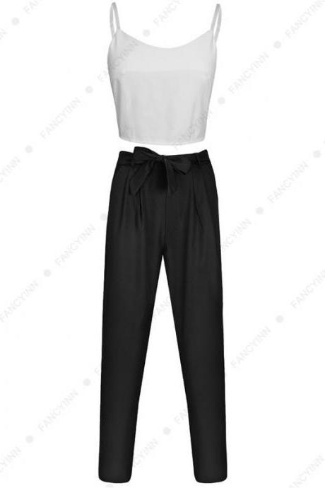 Women Suit Spaghetti Straps Crop Top+Long Pants Two Piece Set Office Party Clothing black