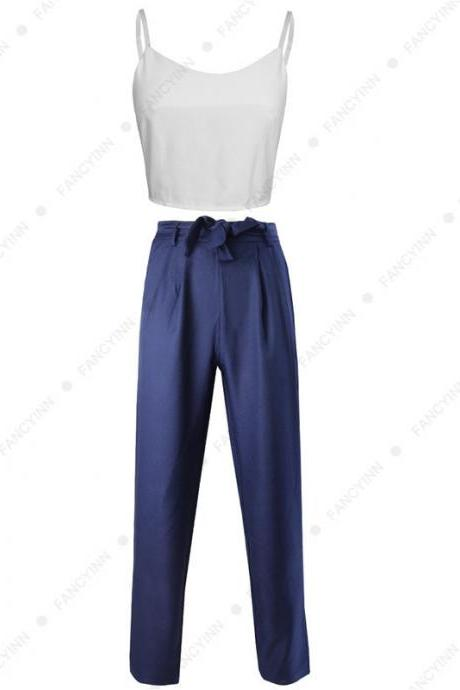 Women Suit Spaghetti Straps Crop Top+Long Pants Two Piece Set Office Party Clothing navy blue