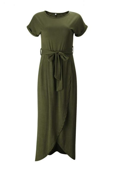 Army Green Round Neck Maxi Shirt Dress with Belt and Front Split