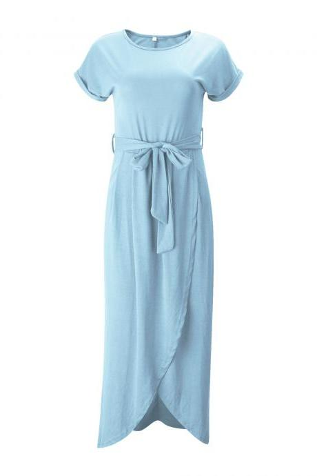 Women Casual Maxi Long Shirt Dress Slim Short Sleeve Bowk Belted Asymmetrical Office Party Sundress baby blue