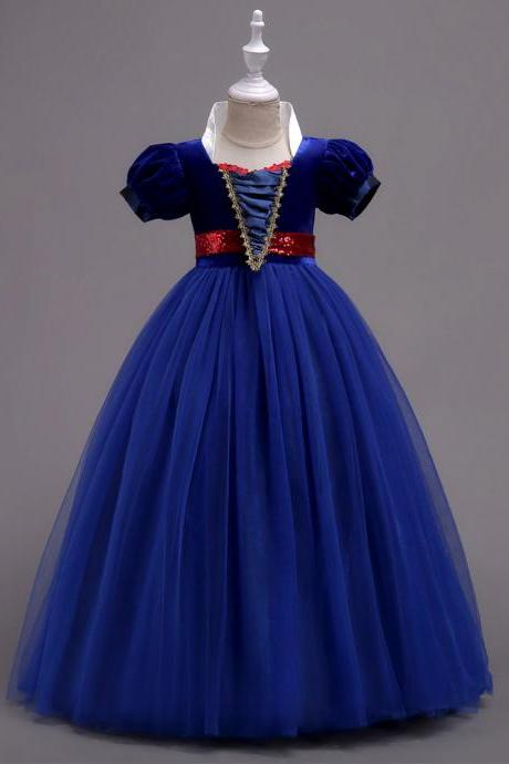 Snow White Dress Princess Baby Kids Girl Party Dress Cosplay Costume Children Clothes royal blue
