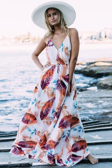 V-Neck Leaf Printed Bohemian Maxi Summer Dress with Spaghetti Straps and Racerback