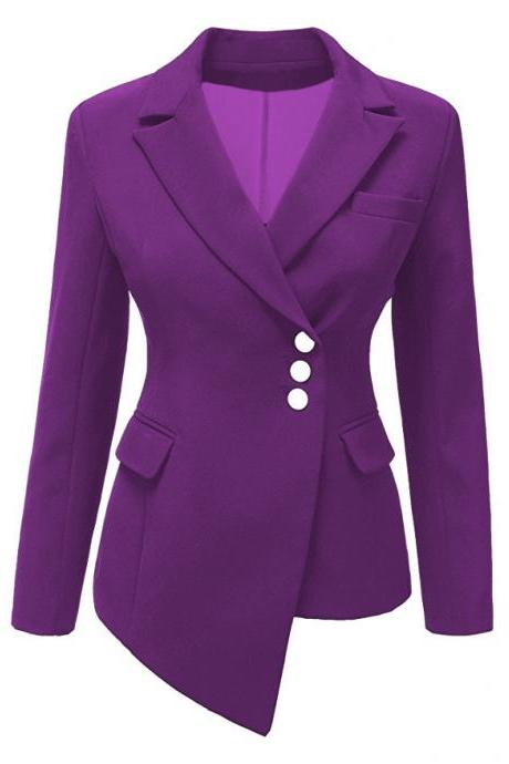 Fashion Slim Asymmetrical Women Suit Coat Buttons Long Sleeve Solid Lady Short Casual Jacket purple