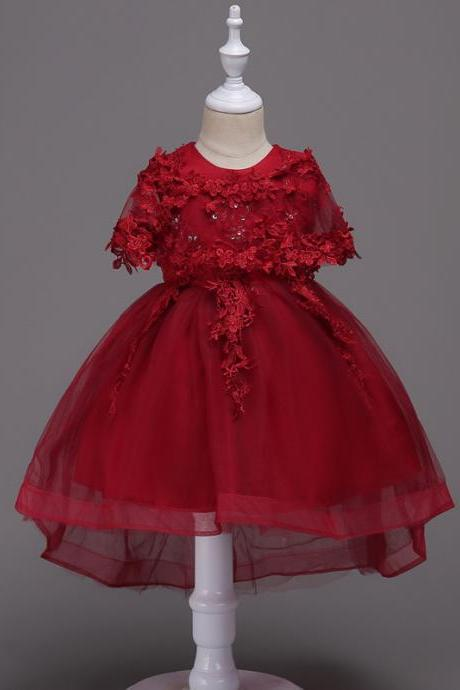 Princess Lace Flower Girl Dress High Low Kids Wedding Bridesmaid Party Children Clothes burgundy