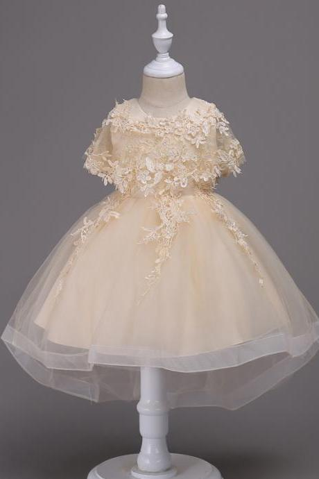 Princess Lace Flower Girl Dress High Low Kids Wedding Bridesmaid Party Children Clothes champagne