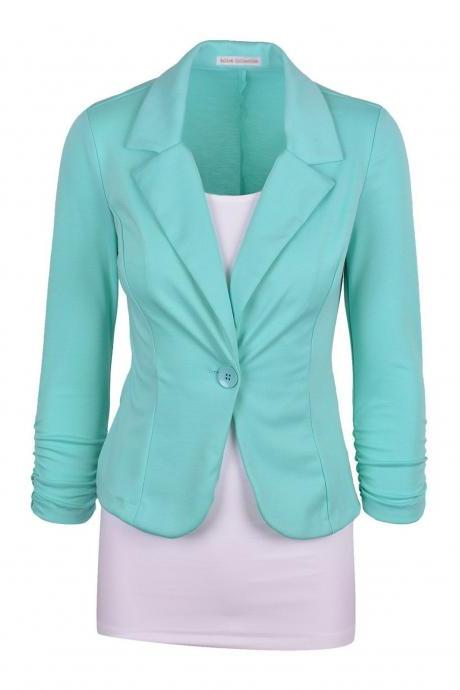 Fashion Spring Women Slim Blazer Coat Long Sleeve One Button Casual Suit Jacket Ladies Work Wear aqua
