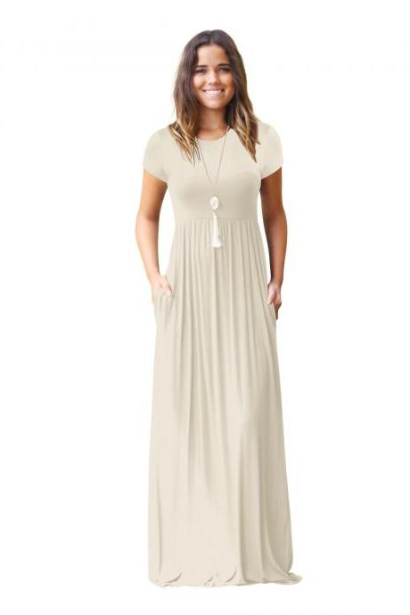 Apricot O-Neck Casual Maxi Dress with Short Sleeves and Side Pockets