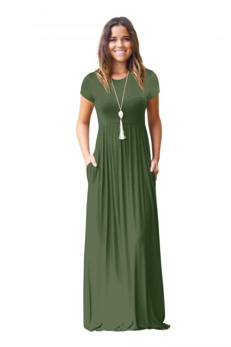 Army Green O-Neck Casual Maxi Dress with Short Sleeves and Side Pockets