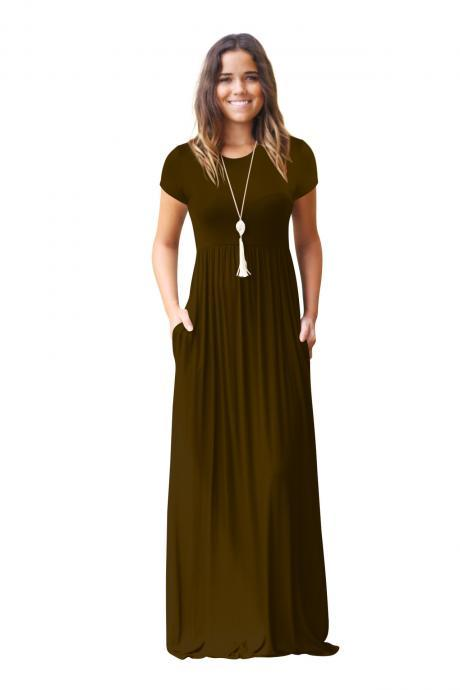 Women Maxi Long Dress Short Sleeve O Neck Solid Slim Pockets Spring Casual Party Dress coffee