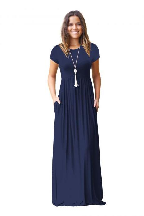 Women Maxi Long Dress Short Sleeve O Neck Solid Slim Pockets Spring Casual Party Dress navy blue