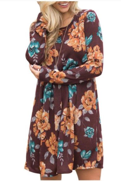 Women Spring Autumn Casual Dress Vintage Long Sleeve Floral Print Mini Beach Dress coffee