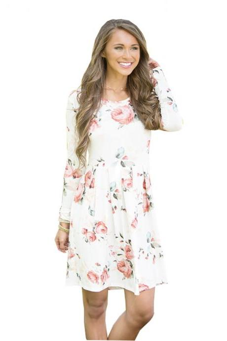 Women Spring Autumn Casual Dress Vintage Long Sleeve Floral Print Mini Beach Dress off white