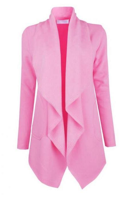 Spring Autumn Turn-down Collar Coat Women Long Sleeve Cardigan Solid Asymmetrical Jacket Outwear pink