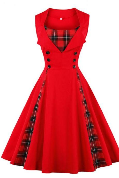 Vintage 50 60s Dress Buttons Plaid Patchwork Plus Size Women Party Dress red