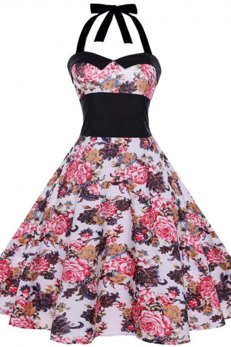 Vintage Polka Dot/Floral Dress Halter Backless Big Swing Women Casual Party Dress 5#