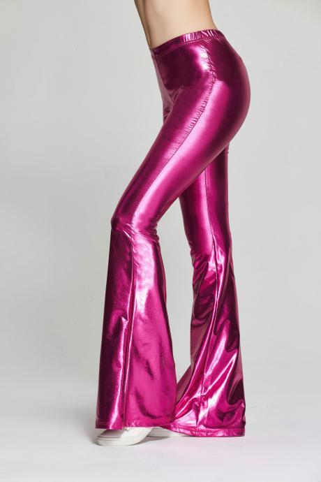 Fashion Women Sequined Flare Pants High Waist Glitter Color Sexy Slim Streetwear Long Trousers hot pink