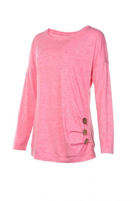 Women T-Shirt Casual O-Neck Buttons Ladies Girls Summer Slim Long Sleeve Tops pink