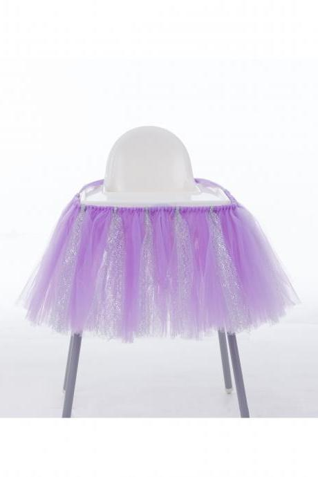 Tutu Tulle Table Skirts High Chair Decor Baby Shower Decorations for Boys Girls Party Set Birthday Party Supplies lilac+silver